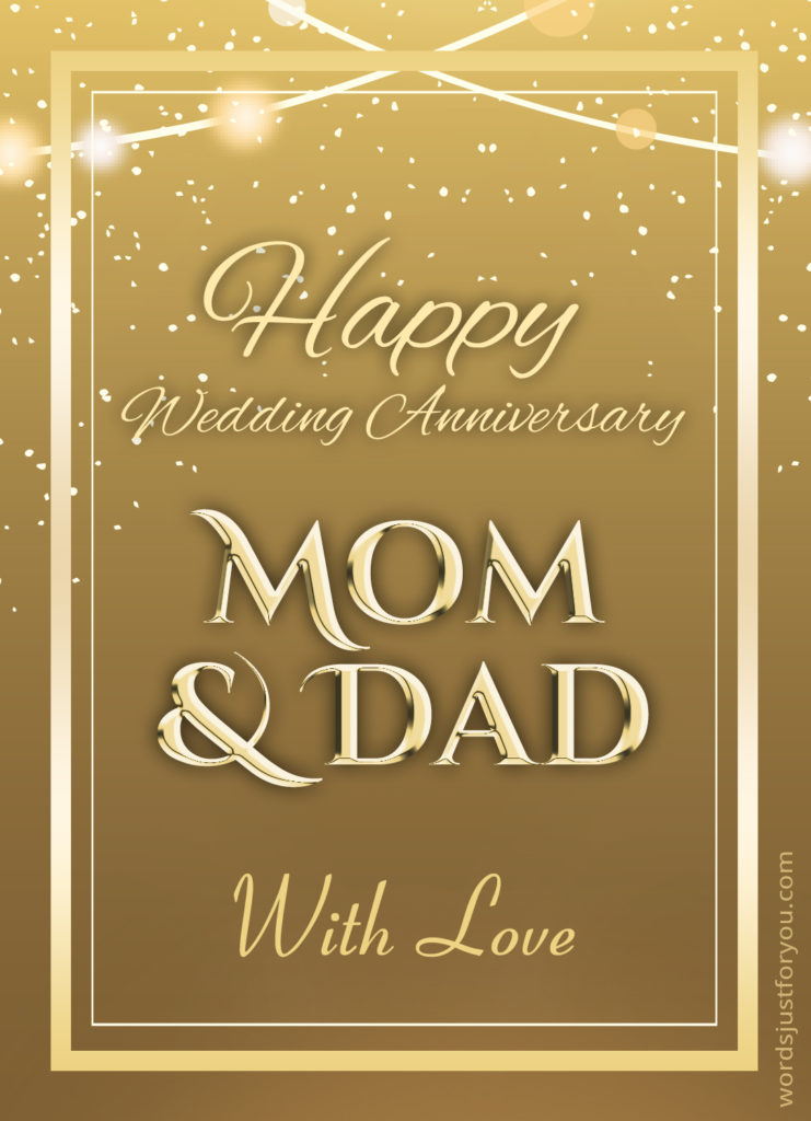 Happy Wedding Anniversary Mom Dad Card Words Just For You