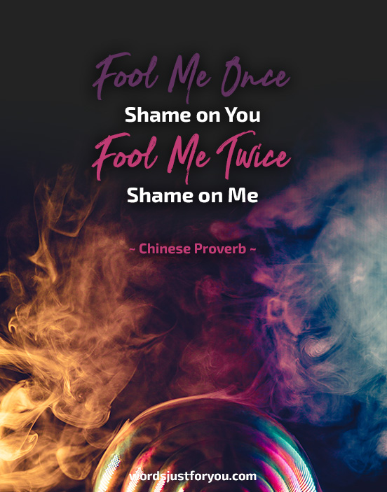 Fool Me Once Shame on You Fool Me Twice Shame on Me. ~ Chinese Proverb ~