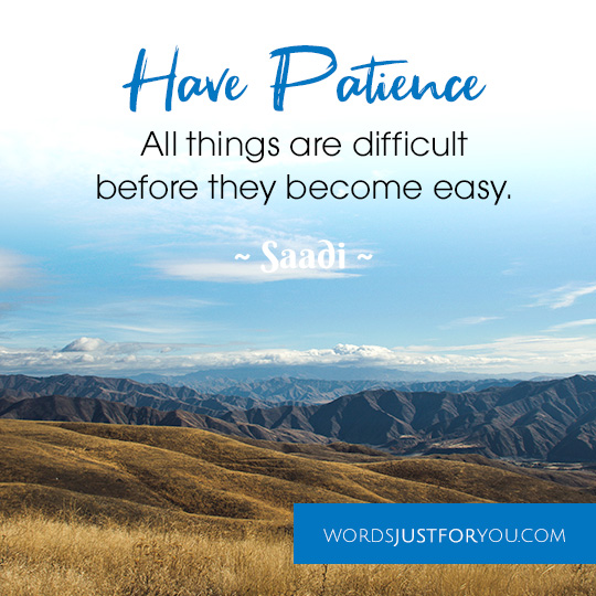 Have Patience. All things are difficult before they become easy. Quote by Saadi