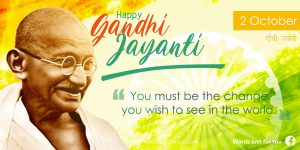 Happy Gandhi Jayanti Creative Banner with Quote